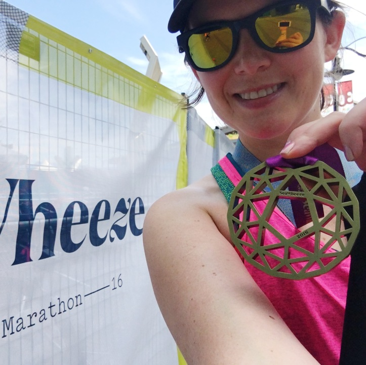 Finishers' medal from the 2016 Lululemon SeaWheeze Half Marathon