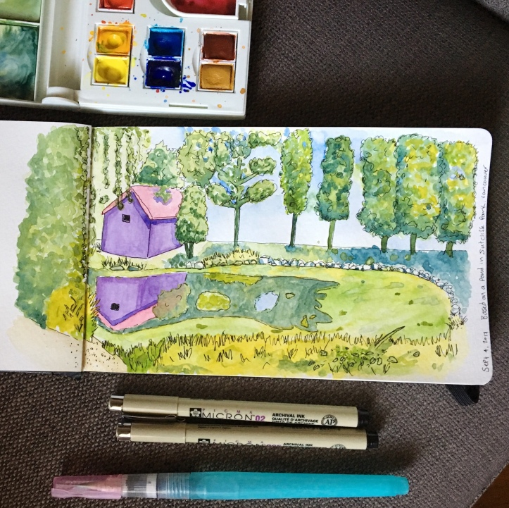 Watercolour painting of a pond in Vancouver