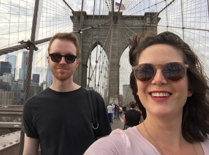 Jessica and Graham crossing the Brooklyn Bridge